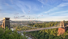 Bristol Balloon Fiesta (Vemsteroo) Tags: morning bridge light summer sky southwest sunrise bristol dawn nikon fiesta balloon hotairballoons suspensionbridge clifton riveravon d90