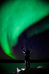 """Day 8: """"Dancing skies and stars so bright"""" (FallingLeavesPhotography) Tags: winter portrait snow green self project stars lights one photo blog back worship day skies dancing year 8 aurora portraiture 365 lit northern borealis"""