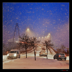 Snowy morning (bent inge) Tags: bridge winter snow norway stavanger traffic snowy sn rogaland bluemorning whitebridge bybrua norwegianwinter nikon700 bentingeask