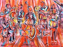 Jazz Age - Karen Sloan (Karen @ Wall Flower Studio) Tags: musician music art illustration painting drums acrylic notes bass trumpet jazz violin orchestra sound instrument drummer sax saxophone jazzband 2012 jazzmusic treblecleff karensloan wallflowerstudio
