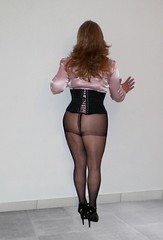 46 (Doroty doll ♥) Tags: stockings highheels legs crossdressing blouse tgirl mature wig heels corset satin pantyhose crossdress bluse minidress fishnetstockings satinbluse doroty satinblouse femalemask