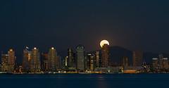 Worm Moon 2014 (Waldemar*) Tags: california city usa moon night nikon downtown cityscape nightscape sandiego fullmoon moonrise citylights embarcadero westcoast pacificcoast shelterisland highrises buidlings sandiegobay wormmoon afs70200mmf28gvrii d800e