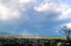 Rainbows over Skopje (Fursa) Tags: sky weather rainbow view double macedonia vista rainbows skopje vodno zoyanaskova