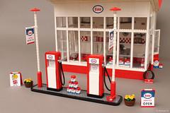 Esso Gas Station designed by Dutch architect Dudok (1953) (Andrea Lattanzio) Tags: classic netherlands vw volkswagen design lego garage norton gas gasstation petrol esso gaspump t1 t2 exxon dudok essosign vwt1 norton74