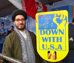 Down With USA (Kombizz) Tags: portrait usa poster glasses with iran down turban tehran abba cleric 1394 freedomtower azaditower islamicrevolution ayatollahruhollahkhomeini azadisquare yellowposter kombizz 22bahman iranianrevolution meydaneazadi margbaramerica anniversaryoftheislamicrevolution 1140578 marghbaramerica 22bahman1394
