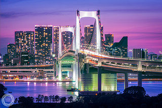 Tokyo Rainbow Bridge in Purple Twilight