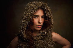 Back to the wild (gsvoow) Tags: light woman cute girl make up fashion closeup hair studio fur eyes warm pretty emotion skin moscow coat lips redhead curly angry redhair tricky        prosvet