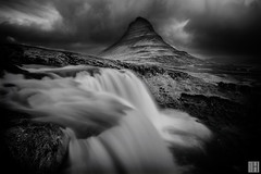 the elements tension - Kirkjufellfoss (gregor H) Tags: longexposure storm zeiss island eclipse is blackwhite iceland stream rainy elements carl dim tension kirkjufell obscure subtle lowangle carlzeiss stromy vesturland kirkjufellsfoss pprowinner distagont3518