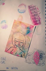 Odd Girl (12/7/16) (Innocence-Is-Forever) Tags: cute art love girl collage naked nude sketch lyrics paint child sweet mixedmedia innocent young inspired bubbles sensual odd desire teen innocence lust tatu gesso artjournal craving songlyrics gelatos watercolourpaper