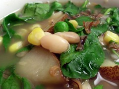 11.6.11 white bean soup 2 (thesaucycoconut) Tags: potatoes corn garlic peas onion spinach whitebeans veggiebroth