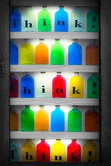 Think! (joaobambu) Tags: red orange colour green colors yellow cores store bottle colorful thought colours bottles display think stock cor garrafa flasche bunt symbolic farben pensamento flaschen pensa denken bottiglia gettygermanyq4