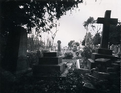POLAROID 34 (Nigel Bewley) Tags: uk england church cemetery graveyard angel polaroid headstone graves pinhole spooky stmaryschurch ealing largeformat pinholephotography stmarys type52 perivale 5x4 artphotography polopan polaroidtype52 nooncamera