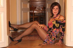 That 70's revival (Ambre Nn) Tags: e heels pantyhose crossdresser travesti tranvestite collants