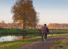 Fietsen langs de Mark - Biking in autumn (RuudMorijn-NL) Tags: bridge autumn trees winter orange man holland color reflection tree male fall nature water senior colors sunshine bike bicycle yellow rural river season landscape outdoors freedom cycling countryside movement colorful quiet cyclist view natural time outdoor path mark horizon country rustic seasonal herfst free peaceful sunny surface calm clear cycle reflective romantic environment biker leisure serene recreation activity waterfowl picturesque idyllic autumnal atmospheric fietsen active foreground kleurrijk noordbrabant recreational fietser vitality najaar ulvenhout markdal schilderachtig