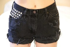 Black Denim Studded Shorts (floralfireworks) Tags: shop vintage for pyramid jean sale recycled lace hipster tie short denim shorts etsy dye boho levis embroidered studs dyed studded cutoffs upcycled floralfireworks