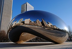 Chicago's Bean many reflections. (Cragin Spring) Tags: park city morning urban chicago art beauty america silver buildings reflections illinois midwest downtown unitedstates bean il reflect millenniumpark chicagoillinois chicagoil chicagodowntown chicagobean