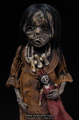 Mummy Art Doll Sculpture  M43 (Shain Erin) Tags: sculpture art mixedmedia ooak fineart tribal artdoll mummy oddity mummydoll worldart shainerin