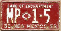 New Mexico mounted patrol (sixes & sevens) Tags: new mexico license plates 1956 nm licenseplates 2011additions