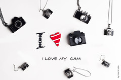 I love MY cam.....[ Explored ] (Fahad Al-Robah) Tags: camera blue red love canon lens nikon heart cam products