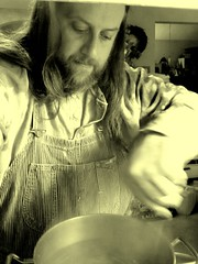 Stirring the potatoes (Jaquandor) Tags: cooking vintage lee overalls hickorystripe