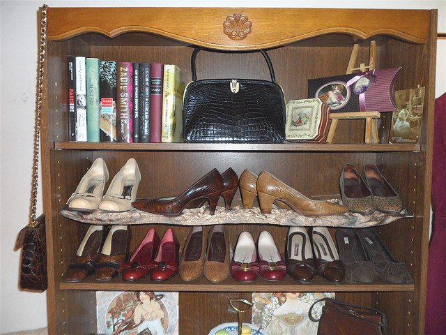 """My vintage """"walk-in closet"""". November 2011, Paris.  (The top 4 shoes are for sale, size 36/37)"""