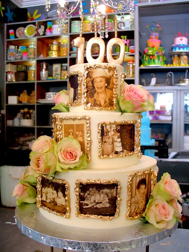 3 Tier Wicked Chocolate 100th Birthday Cake Iced In White Ganache Decorated With Edible
