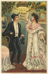 Early Yet--Hic--A Happy New Year (Alan Mays) Tags: old red men green drunk vintage paper cards women shoes funny holidays humorous beds antique humor drinking hats mirrors couples newyear holly ephemera postcards hiccups greetings wives printed clocks husbands brooms bedrooms hitting greetingcards inebriated addedtoip
