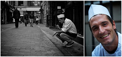 Lunch Break (alishariat) Tags: christmas street vacation portrait england blackandwhite holiday color colour london tourism monochrome smile canon relax happy photography photo nice fantastic diptych europe european break faces unitedkingdom awesome sightseeing stranger smoking adventure explore chef stunning friendly destination exploration touring lunchbreak unwind chefhat smoko chefuniform 100strangers alishariat intrepidtravels