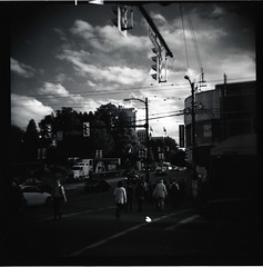 Cambie at Broadway (Beaulawrence) Tags: camera city red people white mountain canada black fall classic 120 6x6 film lines vancouver clouds rollei analog truck vintage square hall lomo lomography october cookie mt crossing bc power little trolley flash grain broadway columbia scan retro september plastic diana filter f 400 pedestrians infrared roll british medium format intersection asa crosswalk vignetting cambie remake reproduction fairview pleasant 2011 sooc