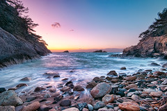 Akaihama Beach in 17:08 (-TommyTsutsui- [nextBlessing]) Tags: longexposure blue winter light sunset sea sky seascape beach nature yellow rock japan landscape nikon purple dusk magic tide scenic wave      islet izu landform  matsuzaki  sigma1020   onsalegettyimages