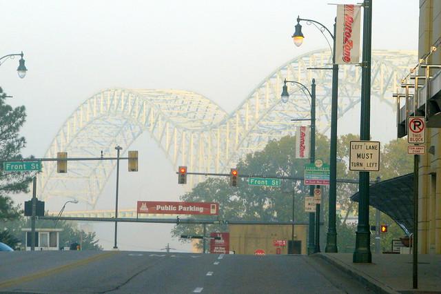 View of the Hernando DeSoto Bridge from Poplar Ave