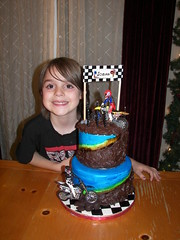 My Cute Son! (Sweet and Swanky Cakes) Tags: cake handpainted dirtbike checkers fondant gumpaste