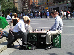 Chess Under the Sun (Pretty Polly Actual) Tags: new york summer sun white playing man black game hot men stairs photography couple play candid board think snapshot steps chess sunny towel thinking heat africanamerican match crate milkcrate competing caucasian compete citynew yorkmanhattanurbancityparkstreetoutsidestreet