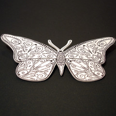 Butterfly Brooch (DitsyBird) Tags: original ink drawing plastic doodled