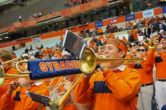 Blowing an Orange Horn (Scottwdw) Tags: people music orange playing newyork man college sports basketball campus student nikon university play head stadium crowd band blowing blow instrument syracuse su trombone fans goldeneagles marquette carrierdome afnikkor50mmf18d d700 yourphototips armyoforange