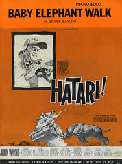 Hatari: Baby Elephant Walk (reallocalcelebrity) Tags: music illustration advertising poster graphicdesign technicolor henrymancini score johnwayne hatari howardhawks babyelephantwalk subism famousmusiccorporation