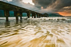 Glossy Departure (landESCAPEphotography | jeff lewis) Tags: ocean travel sunset mountains beach jeff water lines clouds composition landscape hawaii bay pier scenic lewis wave kauai landescape hanalei breaking landescapeph
