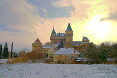 Bojnice Castle Slovakia, Winter Story (johan.pipet) Tags: winter sun snow cold beauty fairytale clouds canon gold golden europe fort sunny explore romantic slovensko slovakia chateau schloss picturesque palo hdr merge hrad zmek sneh postprocessing zamek bartos romantique 2011 bojnice zamok zmok zlaty bojnicky platinumheartaward saariysqualitypictures platinumpeaceaward barto