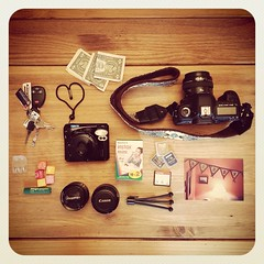 What's in my bag :) (Jaime973) Tags: camera film lensbaby keys tripod cash starburst iphone blistex cameracards instamax angelaspicture