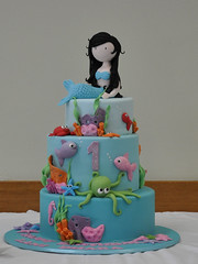 Lani's 1st Birthday Cake (Nati's Cakes) Tags: birthday fish cake mermaids octopus mermaid firstbirthday 1stbirthday underthesea