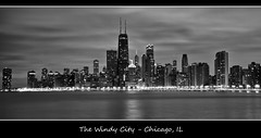 Chicago in B+W (w4nd3rl0st (InspiredinDesMoines)) Tags: city longexposure urban blackandwhite bw chicago reflection art beach water skyline night clouds contrast canon computer dark poster landscape grey lights darkness screensaver outdoor stock gray panoramic il 7d land nik hancocktower 2012 northave windycity 1585 silverfx makemichigan
