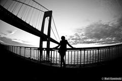 Mandi (MattyKamz) Tags: new york city bridge sunset white amanda black silhouette brooklyn river nikon fisheye hudson nikkor verrazano 105mm losardo d5100