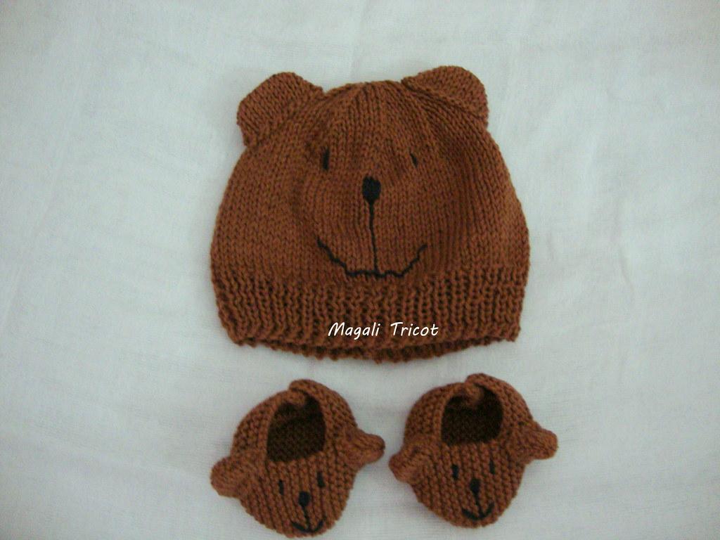 bd950560fead8 Conjunto Amigo Urso Pardo para Valéria (Magali Tricot) Tags  animal gorro  infantil bebe