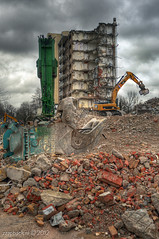 Demolition ahoy! / Stadt en Lande / Overschie / Rotterdam (zzapback) Tags: city urban holland robert netherlands dutch cat de rotterdam nikon europa europe fotografie crane ruin nederland down demolition overschie ruine caterpillar 24mm tear nibble f28 hdr stad sloop urbex kraan voogd rotjeknor vormgeving afd afbraak photomatix beelen grafische afbreken sloopwerken knabbelen d700 bergselaan liskwartier neerhalen overschierotterdam zzapback zzapbacknl robdevoogd stayawakeenjoyyourday stadtenlande