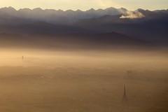 Torino da Superga (Francesca Cappa) Tags: sunset fog landscape torino smog tramonto basilica fiume po nebbia turin paesaggio colline collina superga monviso montedeicappuccini