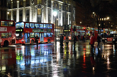 Rush Hour (John A King) Tags: wet night reflections dark lights trafalgarsquare rush hour beses