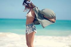 Salt Skin (Love Kimiko) Tags: ocean sea sky water hair hawaii pacific wind horizon bathingsuit headband designers crystalblue flowerheadband highwaistedshorts