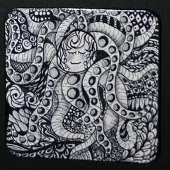 Zentangles (Out On A Whim) Tags: art watercolor blackwhite drawing octopus outback doodles coasters doodling penandink penink zentangle