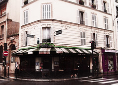 Paris, December 2011 (getoffyourhorse) Tags: france caf shopfront parisian pariscaf frenchshop parisstreetcorner shopfrontparisparis streetspinkfranceparis