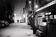 Romantic nights (DMac 5D Mark II) Tags: street camera city travel winter people bw favorite woman white snow storm news man black cold art tourism nature zeiss canon dark lens asian photography eos yahoo interestingness google interesting couple asia artist alone natural top south photojournalism freezing korea best fave explore most korean flurries getty jeju desolate baidu deserted journalism reviews ze viewed naver googleimages daum fredmiranda explored distagont235 canoneos5dmarkii 5dmarkii wwwfredmirandacom gettyimagesartist douglasmacdonald instagram jejuweekly